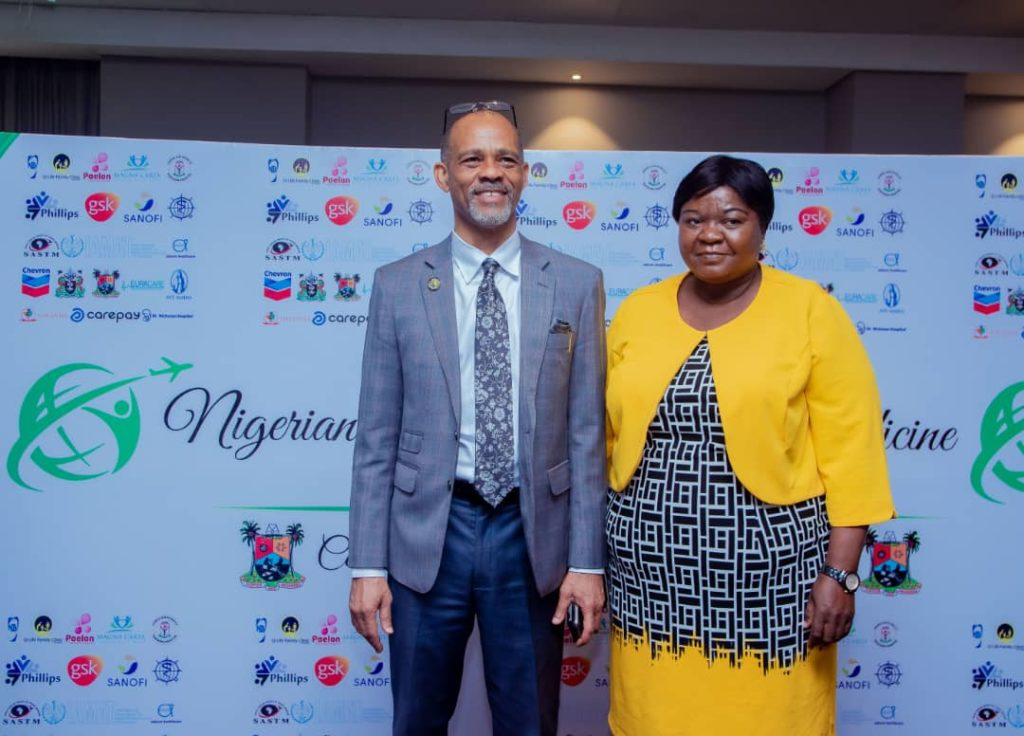 The Lagos State Government Honourable Commissioner of Health and the Representative of the First Lady of Lagos State during a photo session.